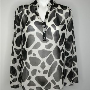 Talbots Woman Sheer Silk Giraffe Print Blouse 18W